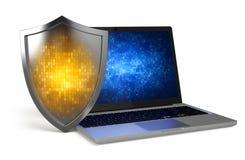 Computer portatile con lo schermo di protezione Immagini Stock Libere da Diritti
