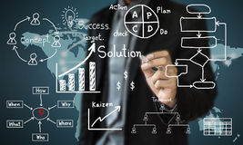 Concept business drawn aim for solution success on above Royalty Free Stock Image