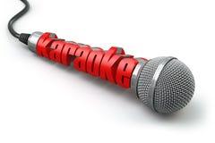 Concept de partie de karaoke Deux microphones avec le texte Images stock