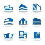 Conception réglée de vecteur de logo à la maison moderne bleu Photos stock