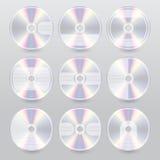 Conceptions bleues de couverture de rayon de divers dvd cd Photographie stock libre de droits