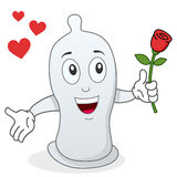 Condom Character with Red Rose Stock Image