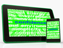 Confidence Tablet Shows Self-Assurance Composure And Belief Royalty Free Stock Photography
