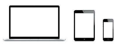 Confronto di pro iPad di Macbook mini e del iPhone 5s Immagini Stock