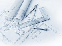 Construction plan tools Stock Photos