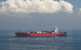 Container Cargo Ship and horizon Royalty Free Stock Image