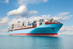 Container carrier is at sea Stock Image