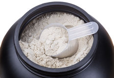 Container of milk whey protein. Royalty Free Stock Images