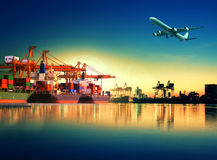 Container ship in import,export port against beautiful morning l Royalty Free Stock Image