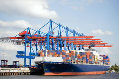 Container ship in port Stock Photos