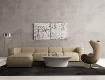 Contemporary grey living room interior Stock Photos
