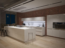 Contemporary steel kitchen in converted industrial Stock Photography