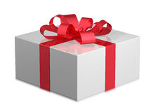 Contenitore di regalo brillante bianco Fotografia Stock Libera da Diritti
