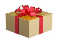Contenitore di regalo dorato Fotografie Stock