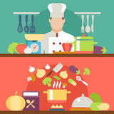 Cooking concept flat icons set Stock Photo