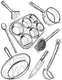 Cooking utensil sketches Stock Photography