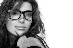 Cool Trendy Eyewear. Beauty Fashion Young Woman in Glasses. Stock Photos