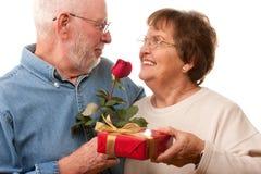 Coppie maggiori felici con il regalo e Rosa rossa Immagine Stock