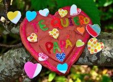 Coração da argila para o dia de pais Fotografia de Stock Royalty Free