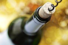 Cork screw and wine bottle Stock Photos