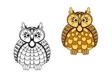 Coruja de águia sábia velha dos desenhos animados Imagens de Stock