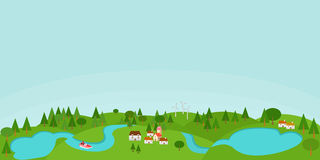 Countryside illustration with lakes Royalty Free Stock Image