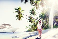 Couple Beach Bonding Romance Holiday Concept Stock Image