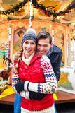 Couple during  the Christmas market or advent season Stock Photography