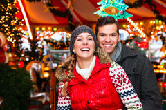 Couple during  the Christmas market or advent season Stock Image
