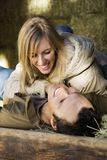 Couple in hay. Royalty Free Stock Images