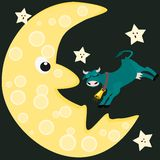 Cow startles moon and stars Royalty Free Stock Images