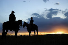 Cowboy silhouettes Royalty Free Stock Image