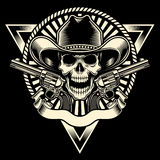 Cowboy Skull With Revolver Stock Afbeelding