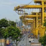 Cranes in Singapore harbor Stock Image