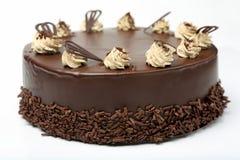 Cream chocolate cake with icing on white background Stock Image