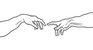 The Creation of Adam. Fragment (Outline vesion) Stock Photos