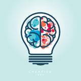 Creative Light Bulb Left and Right Brain Idea Icon Stock Photo