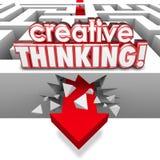 Creative Thinking Solving Problem Crashing Through Maze Arrow Royalty Free Stock Images