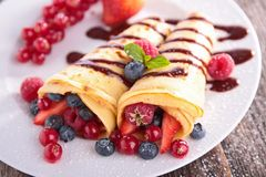 Crepe and berry fruit Royalty Free Stock Image