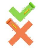 Crosschecksymbol ja eller inte vektor Arkivfoto