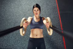 Crossfit workout on ring Stock Photos
