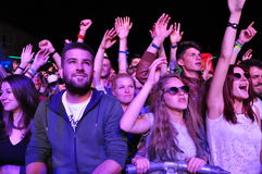 Crowd of partying people during a concert Stock Photos