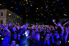 Crowd of partying people during a concert Royalty Free Stock Photo