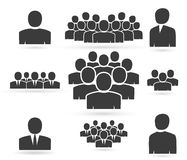 Crowd of people in team icon silhouettes Stock Image