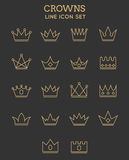 Crown line icon set Royalty Free Stock Image