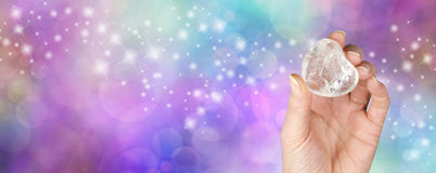 Crystal healing website banner with glitter Stock Images