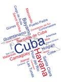 Cuba Map and Cities Royalty Free Stock Photos