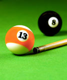 Cue stick and snooker balls Royalty Free Stock Photo