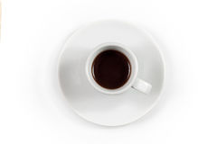 A cup of espresso, top view Stock Photos
