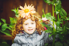 Curly girl with flower in her hair. Toning photo. Instagram filt Royalty Free Stock Photo